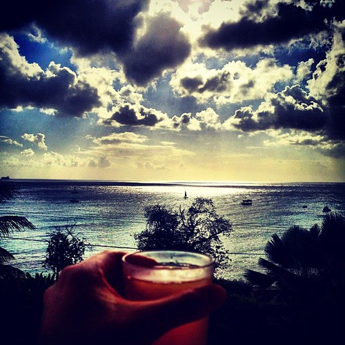 Rum punch in hand & not a bad view. Vacation starts now! #barbados
