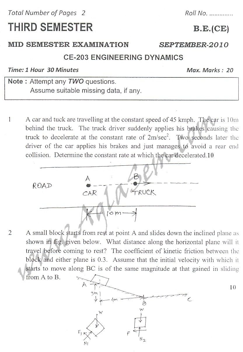 DTU Question Papers 2010 – 3 Semester - Mid Sem - CE-203