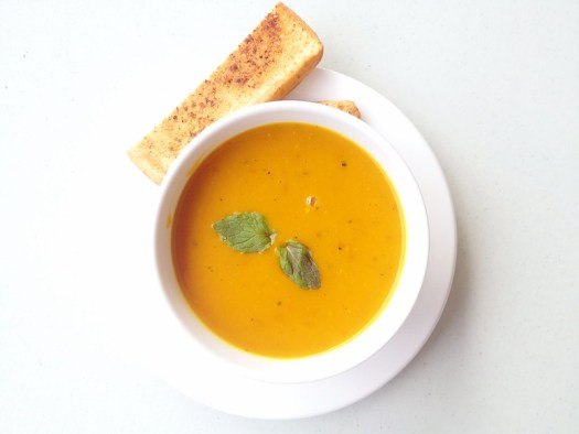 mint-infused roasted pumpkin bisque
