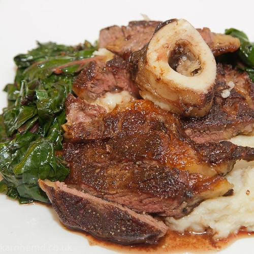 Ribeye steak, smoked garlic mash, chard