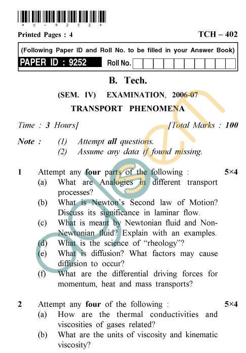 UPTU: B.Tech Question Papers -TCH-402 - Transport Phenomena
