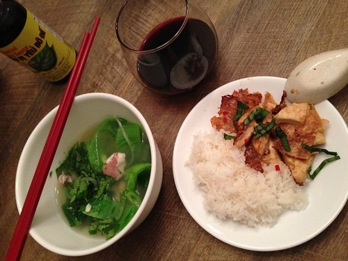 Gingery Mustard Greens and Fish Soup and Tofu