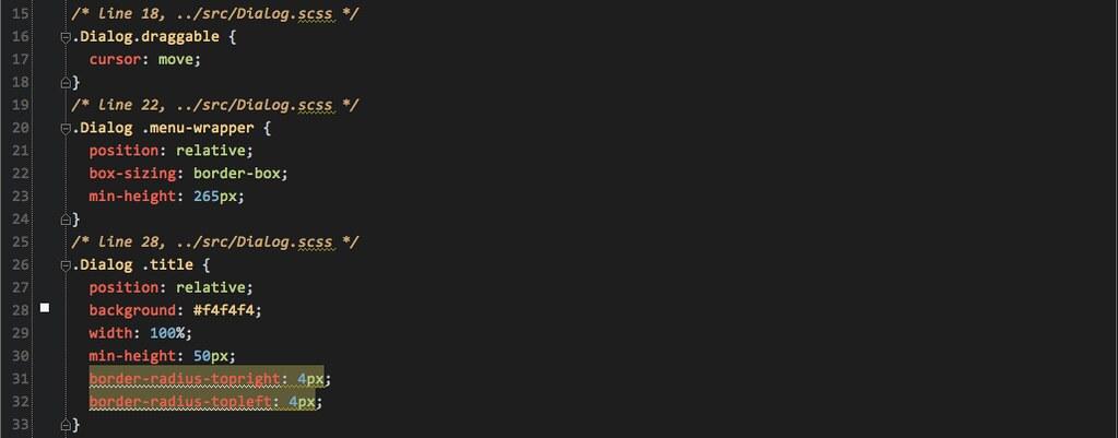 Dialog.css sample code