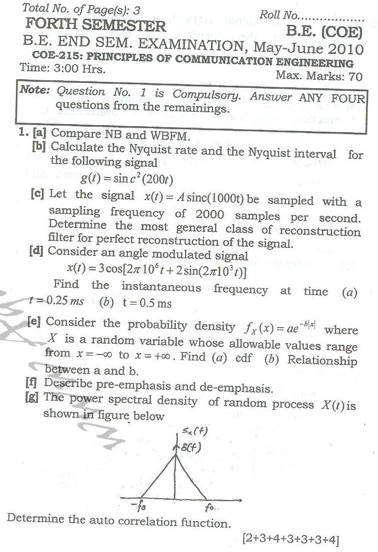 DTU Question Papers 2010 – 4 Semester - End  Sem - COE-215