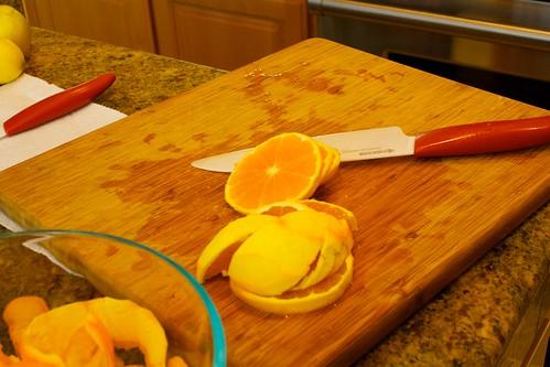 Slicing the oranges