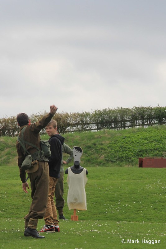 Grenade throwing exercises at a  Korean War display at Moira Furnace