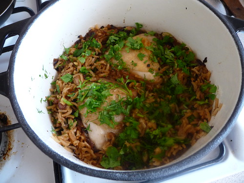 Chicken with caramelised onion and cardamom rice