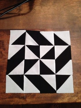 Modern Half square triange quilt a long Block 31