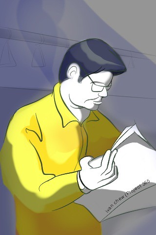"""""""Newspaper Guy in the Train"""" (#98: Project 365 Sketches)"""