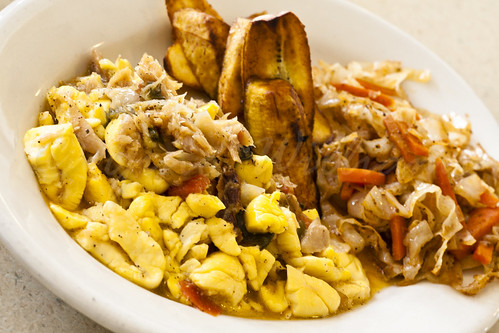 Saltfish and Ackee, Cabbage and Carrots