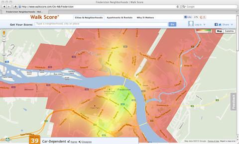Walk-Score-overall-Fredericton