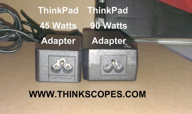 ThinkPad 45 watts adapter vs 90 watts adapter (end view)