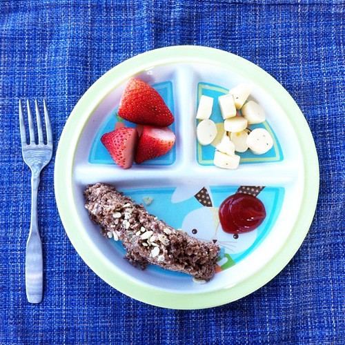 Dinner is served: meatloaf, strawberries, and cheese. Yum yum! #aprilfools #nevergrowup #pictapgo