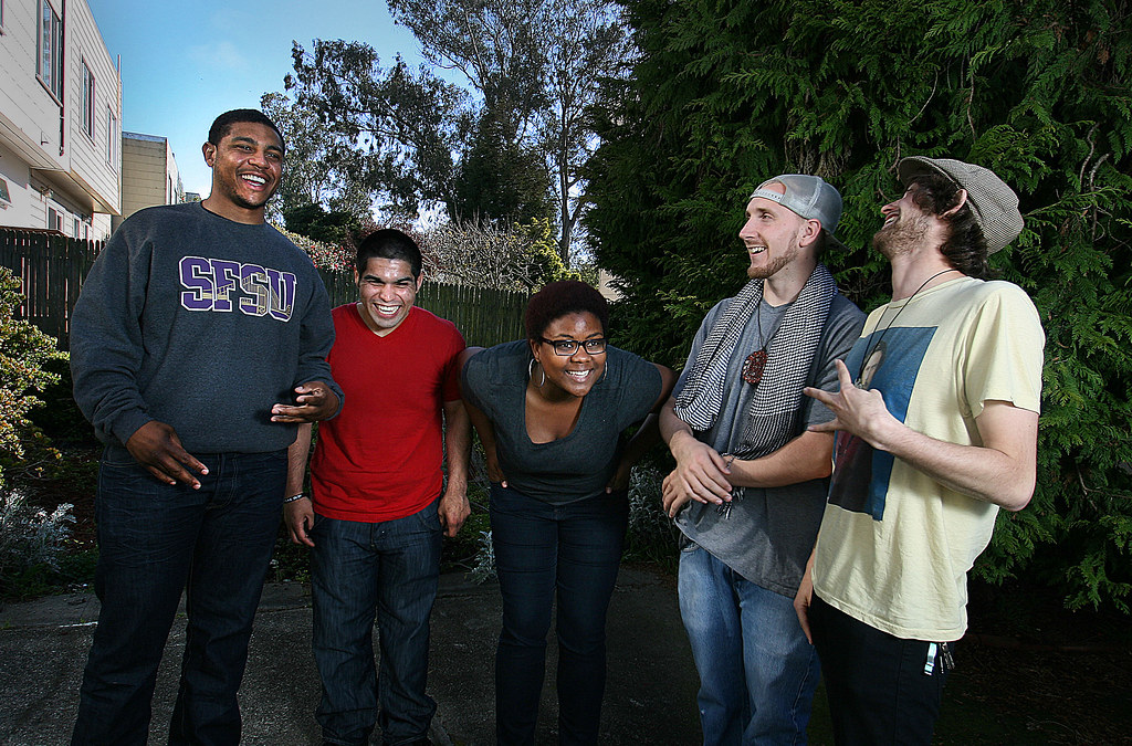 Members of SPEAK, a poetry group based out of SF State. From left to right: Anthony May, Jarvis Subia, Imani Cezanne, Andrew Bigelow, and Cosmo Goodnick. Photo by Andy Sweet/Xpress