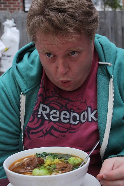 A giant bowl of noodle soup at Tiger Noodles