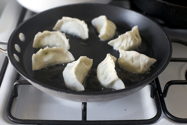 browning the potstickers