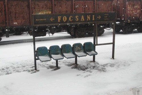 Waiting at a snow covered Focşani station
