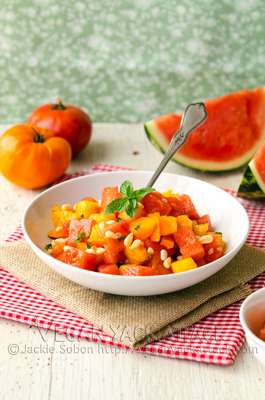 A refreshing Watermelon Tomato Salad, complimented with fresh herbs and pine nuts. Flavorful, light, and perfect for your summer gatherings!