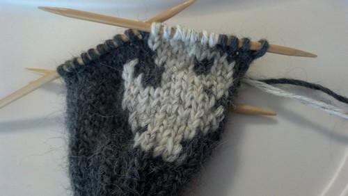 Chocobo fingerless glove, in progress