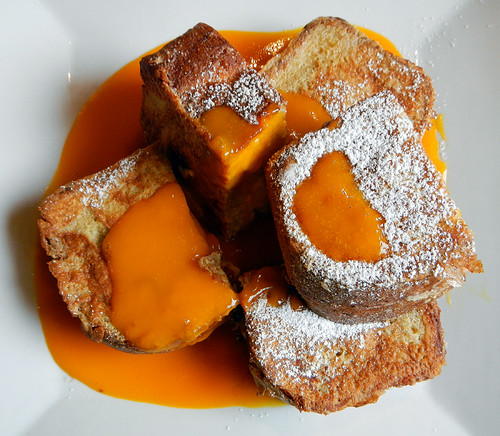 French Toast filled with Banana & Cream Cheese and slathered in Mango Sauce