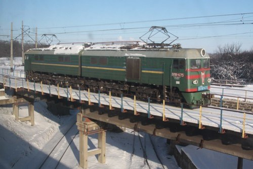 Ukrainian Railways class ВЛ8 electric locomotive ВЛ8-475 at Іловайськ (Ilovaisk)