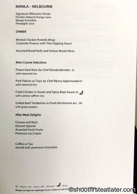 Philippine Airlines - Mnl-Mel business class menu-001