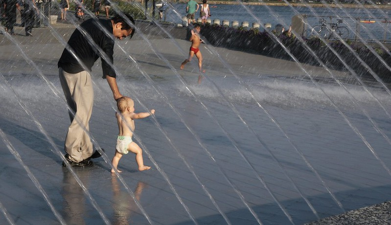 Georgetown fountain riverfront park with grandparents