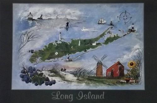 Long Island Map (Showing Montauk Lighthouse)