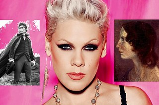 P!nk and Emily Bronte portraits alongside a black and white of Timothy Dalton as Heathcliff in the Wuthering Heights film adaptation