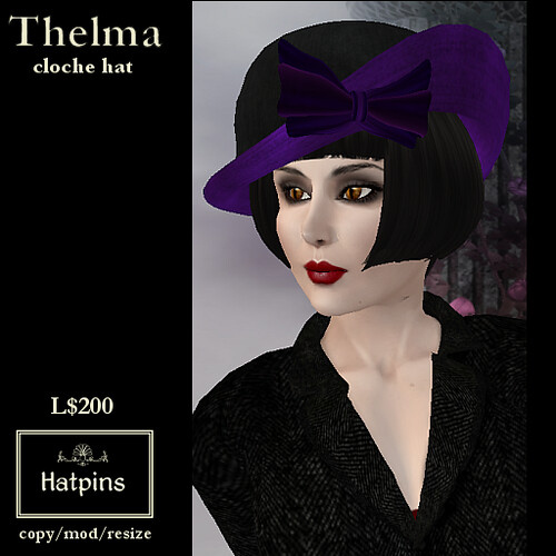 Hatpins - Thelma Cloche Hat - Purple