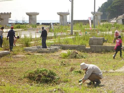 南三陸町歌津で伊里前川の清掃ボランティア(ボランティアチーム援人) Volunteer Work at Minamisanrikucho, Miyagi pref., Affrected by the Tsunami of Japan Earthquake