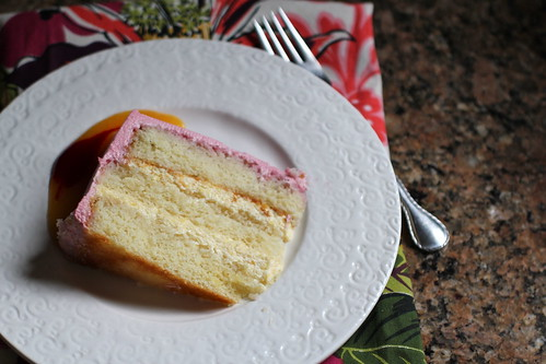 slice of peach melba cake