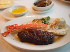 Half a ribeye and Alaskan Crab leg. Morton's Steakhouse