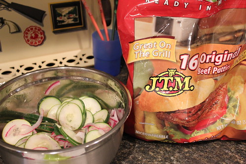 20120711. Sometimes, you just have to pair that deilicous garden cuke salad with nasty square burgers.