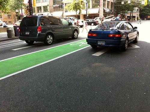 Freshly-painted new bike lane on Smithe at Burrard!!