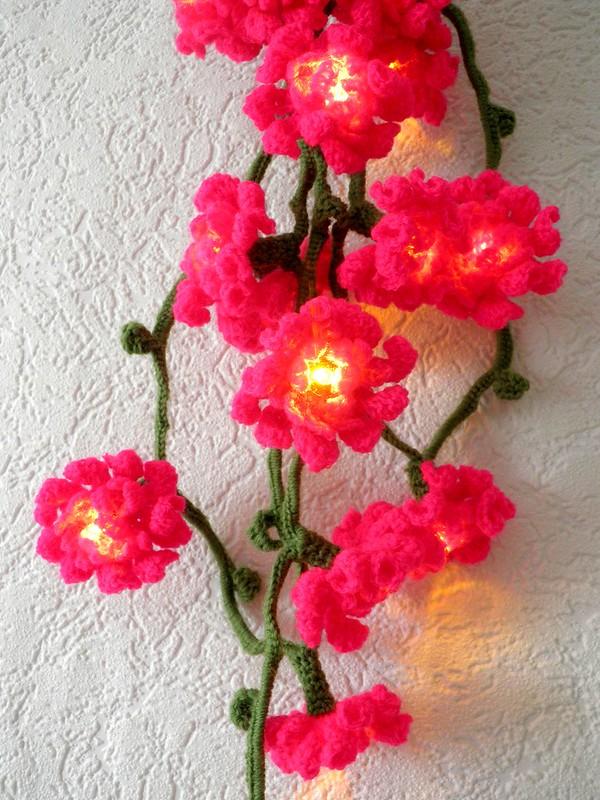 Blütenlichterkette pink an