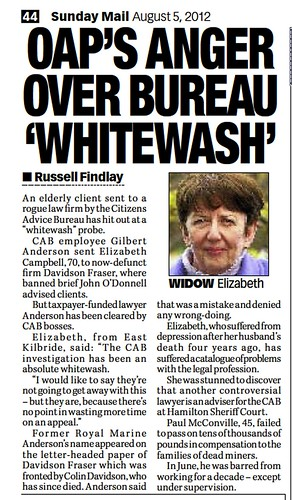 OAP'S ANGER OVER BUREAU 'WHITEWASH' Sunday Mail August 5 2012