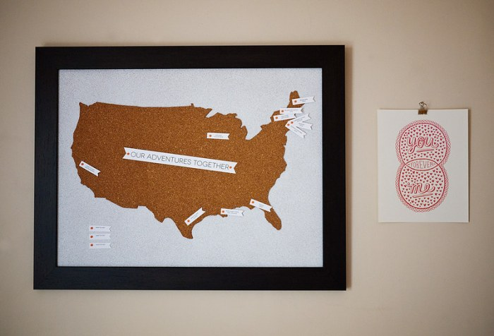 Travel Map Pin Board DIY 11