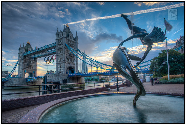 Tower Bridge - Olympic Rings with Dolphin Girl