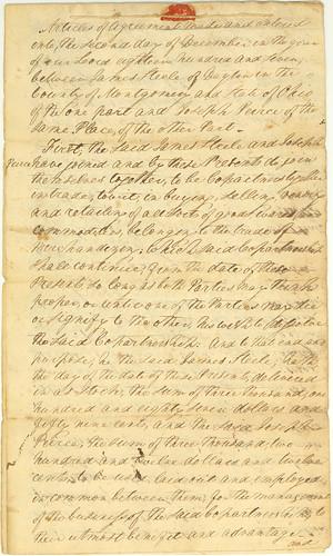 Articles of Co-Partnership, Steele & Peirce, 1807, pg 1