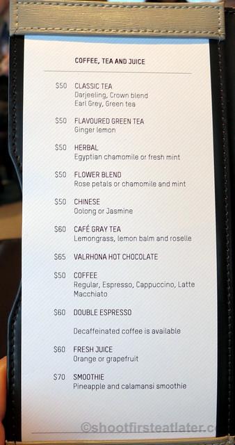 Cafe Gray Deluxe @ Upper House- coffee, tea & juice menu