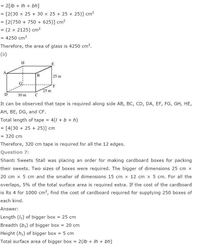 NCERT Solutions For Class 9th Maths Solutions Chapter 13 Surface Areas and Volumes PDF Download 2018-19