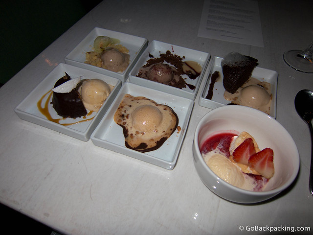 5th Course: a sampling of six desserts
