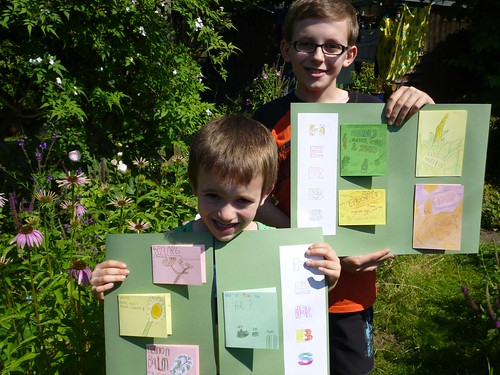 boys show off lapbook