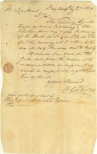 H. G. Phillips to Jesse Hunt announcing death of Dr. John Elliot, 27 Feb. 1809
