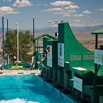 Ski jump into a pool