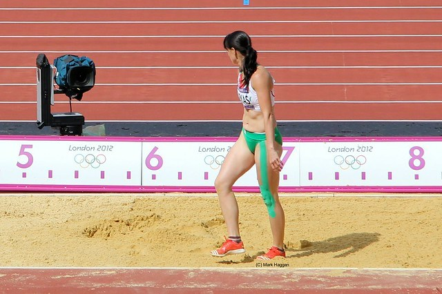Gyorgyi Farkas of Hungary in the long jump during the heptathlon at the London 2012 Olympics