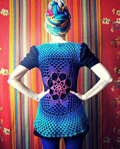 Tie-dye Effect Flower Mandala Vest - Pink To Teal