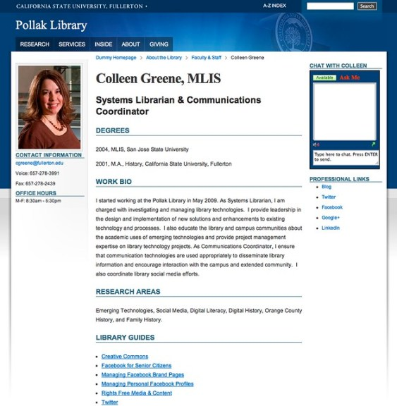 Pollak Library Faculty Profiles: LibGuides Librarian API