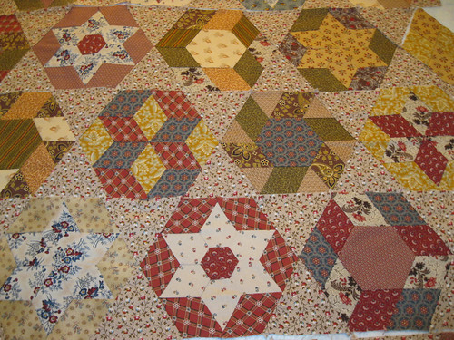 Mum's hand-pieced hexagons - progress